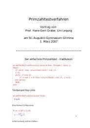Primzahltestverfahren - Prof. Dr. Hans-Gert Gräbe