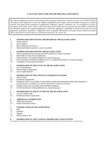 Outline Structure for the Diploma Supplement - European Commission