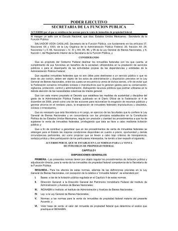Normas para la venta de inmuebles de propiedad federal- DOF 12 ...