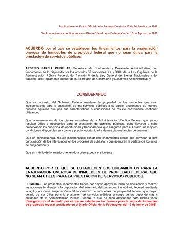 Lineamientos para la Enajenación de Inmuebles Federales no útiles ...