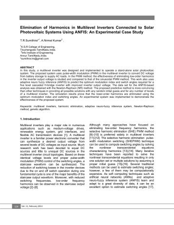 Elimination of Harmonics in Multilevel Inverters Connected to ... - JART