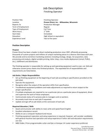 Inkjet Operator Job Description - Proven Direct