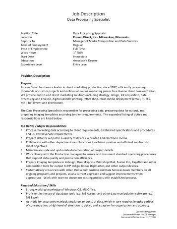 JOB DESCRIPTION: COMMERCIAL DATA BASE - MNCAR