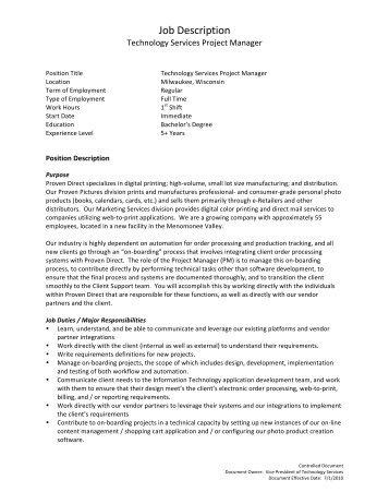 Technology Services Project Manager Job Description   Proven Direct