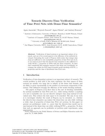 Towards Discrete-Time Verification of Time Petri Nets ... - CS&P 2011
