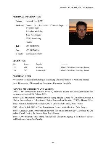 Seiamak BAHRAM, GP, Life Sciences - 49 - PERSONAL ...