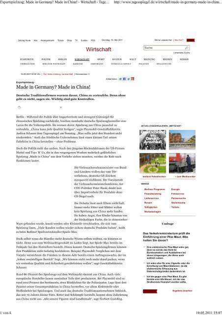 Exportspielzeug: Made in Germany? Made in China ... - directgoods
