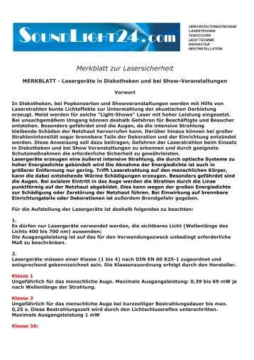 Merkblatt zur Lasersicherheit - MSW Showtechnik