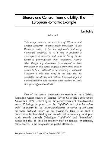 Literary and Cultural Translata bility - National Translation Mission