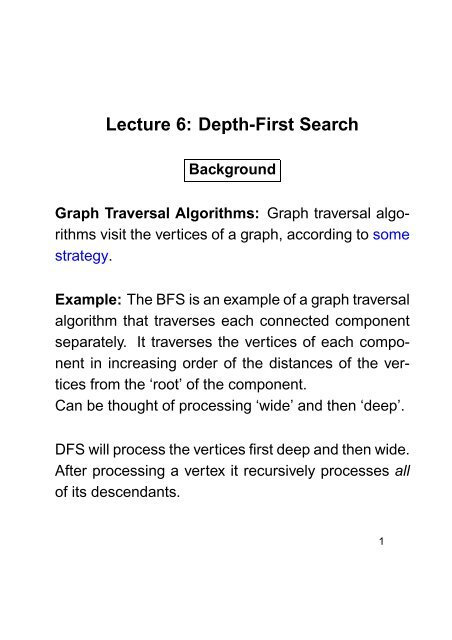 Lecture 6: Depth-First Search