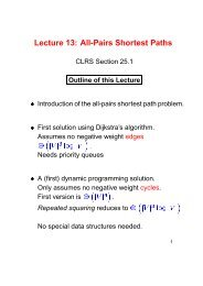 Lecture 13: All-Pairs Shortest Paths