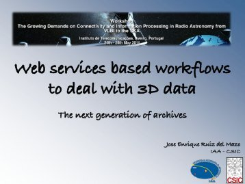 Web services based workflows to deal with 3D data - Instituto de ...