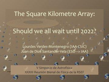 The Square Kilometre Array: Should we all wait until 2022?