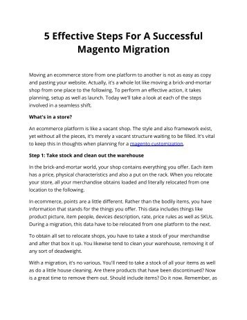 5 Effective Steps For A Successful Magento Migration