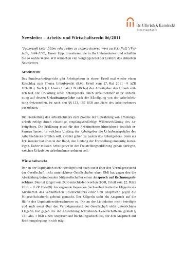 Newsletter – Arbeits- und Wirtschaftsrecht 06/2011