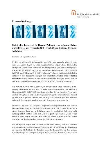 Urteil des Landgericht Hagen: Zahlung von offenen Heim
