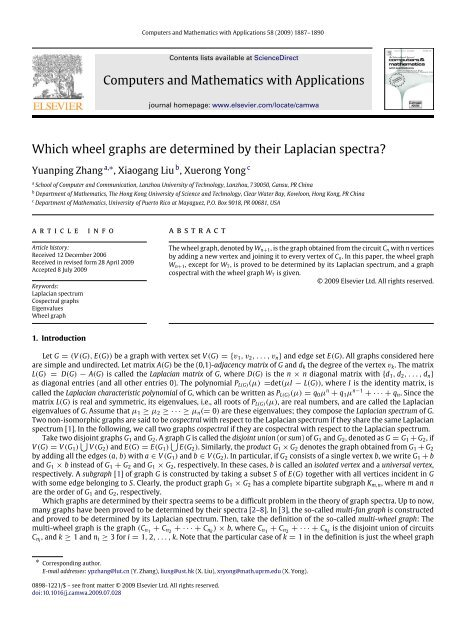 Which wheel graphs are determined by their Laplacian ... - UPRM