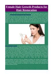 Female Hair Growth Products for Hair Restoration