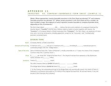 Investor Vs. Company Favorable Sample Term Sheet