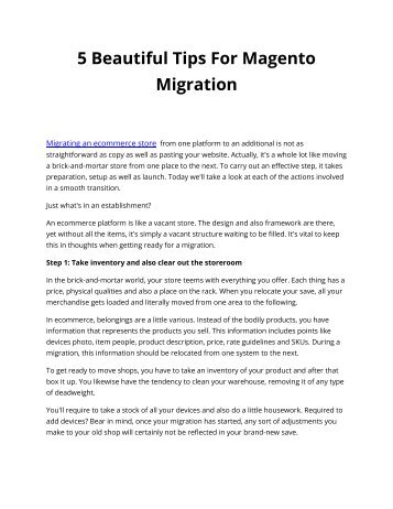 5 Beautiful Tips For Magento Migration