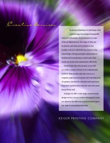 Creative Services - Keiger Graphic Communications