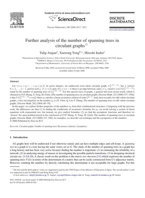 Further analysis of the number of spanning trees in circulant graphs