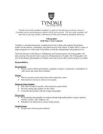 Tyndale invites fully qualified candidates to apply for the following ...