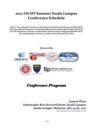 2012 IACSIT Summer Kuala Lumpur Conference ... - EEIP, as