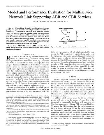 Model and performance evaluation for multiservice ... - IEEE Xplore