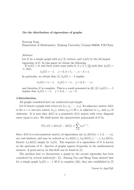 On the distribution of eigenvalues of graphs Xuerong ... - CiteSeerX