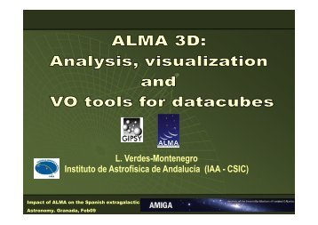 ALMA 3D: Analysis, visualization and VO tools for datacubes