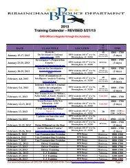 2013 Training Schedule - Birmingham