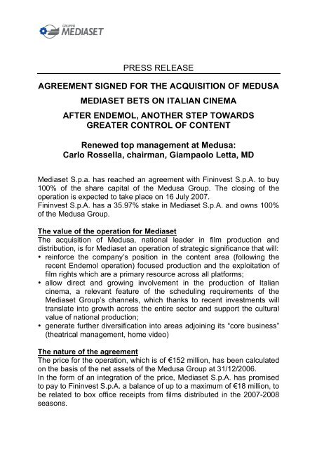Press Release Agreement Signed For The Acquisition