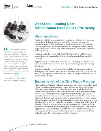 AppSense - leading User Virtualization Solution is Citrix Ready