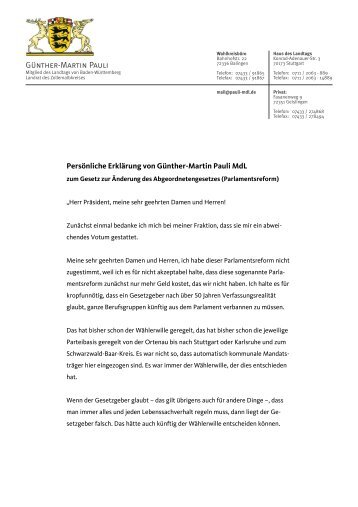 Persönliche Erklärung von Günther-Martin Pauli MdL