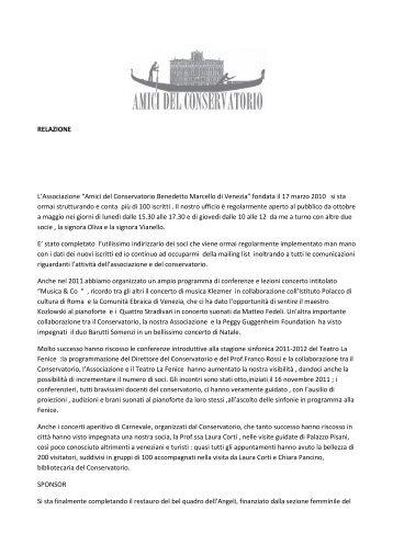 """RELAZIONE L'Associazione """"Amici del Conservatorio ... - un altro Lido"""