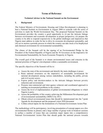 Terms of Reference - UNDP Nigeria
