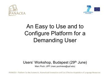 An Easy-to-Use and to Configure Platform for a ... - Panacea