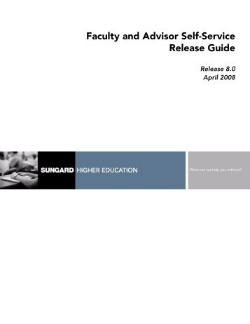 Banner Faculty and Advisor Self-Service / Release Guide / 8.0