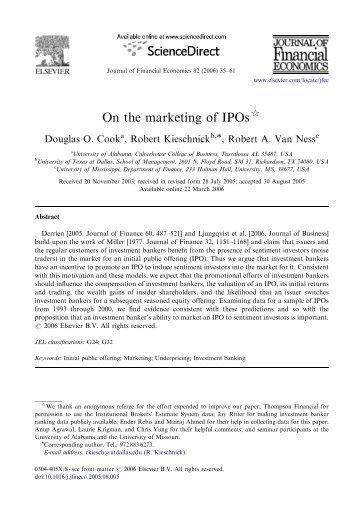 On the marketing of IPOs - G. William Schwert
