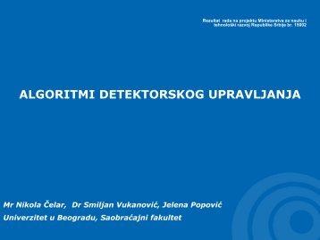 8. algoritmi detektorskog upravljanja - Univerzitet u Beogradu