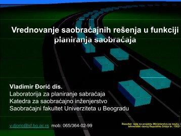 5. Vrednovanje saobraćajnih rešenja u funkciji planiranja saobraćaja