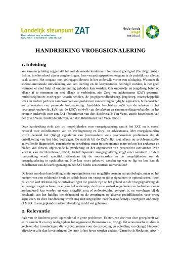 HANDREIKING VROEGSIGNALERING - Landelijk steunpunt ZAT