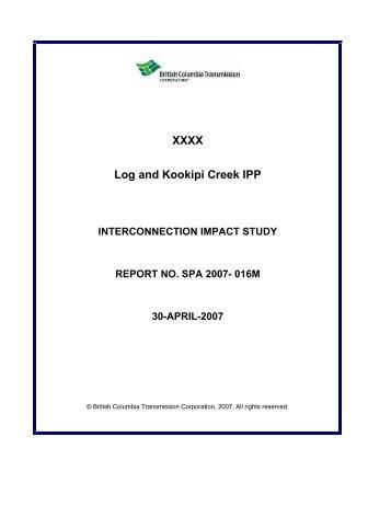 Log and Kookipi Impact Study - BC Hydro - Transmission