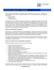 Shareholders' agreements - Introduction - Shareholder's Rights