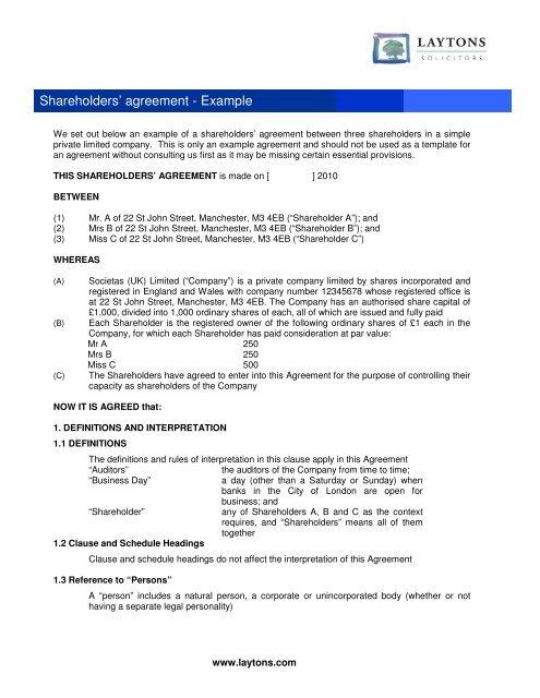 Shareholders' agreement - Example - Shareholder's Rights