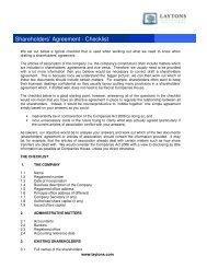 Shareholders' Agreement - Checklist - Shareholder's Rights