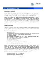 The Company's Constitution - Shareholder's Rights