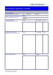Shareholders Agreement Checklist - Gaby Hardwicke