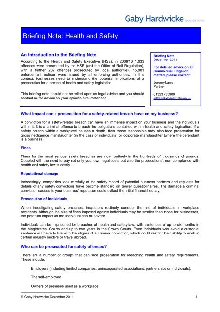 Briefing Note Health And Safety Gaby Hardwicke